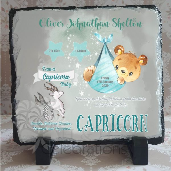 Capricorn - Baby Star Sign Keepsake Rock Slate